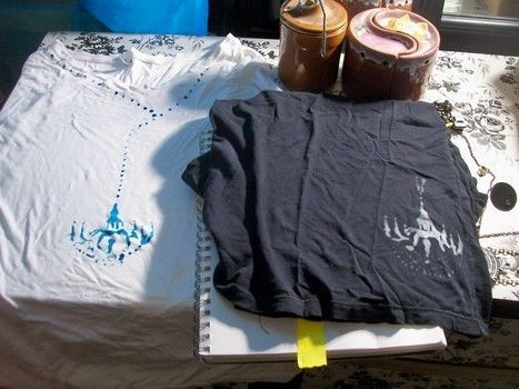 Oooh La La .  Paint a t-shirt in under 120 minutes by stencilling with fabric paint, freezer paper, and painters tape. Inspired by steampunk and vintage & retro. Creation posted by lindsey.wagner.180. Difficulty: 4/5. Cost: Absolutley free.