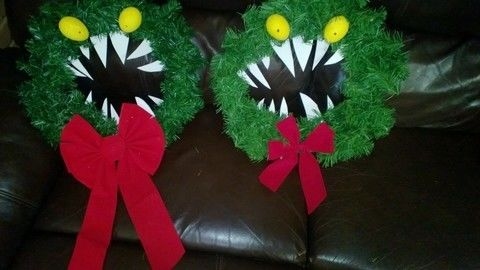 Simple Monster Wreath to make for yourself & friends! .  Make a floral wreath in under 30 minutes by constructing and decorating with paint, foam, and bow. Inspired by christmas, halloween, and nightmare before christmas. Creation posted by Samantha  Darling. Difficulty: Easy. Cost: Cheap.