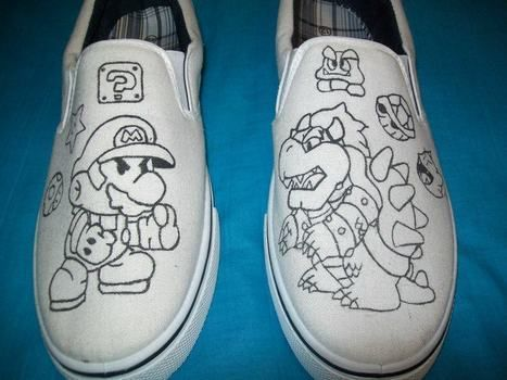 Cheap slip on shoes revamped into awesome gamer shoes.  .  Paint a pair of character shoes in under 90 minutes by drawing and decorating with sharpie marker and old slip ons. Inspired by super mario and shoes. Creation posted by Serena P. Difficulty: Simple. Cost: Cheap.