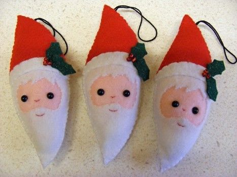 Cute Felt Santa .  Make a Christmas decoration in under 50 minutes by sewing with felt, stuffing, and embroidery thread. Inspired by christmas and santa claus. Creation posted by PixieFey. Difficulty: Easy. Cost: Absolutley free.
