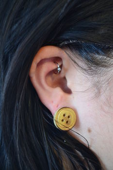 Cute as a Button. .  Free tutorial with pictures on how to make a pair of button earrings in under 5 minutes using buttons, glue, and earring studs. How To posted by Risa.Hanae (JapZilla). Difficulty: Easy. Cost: Absolutley free. Steps: 1
