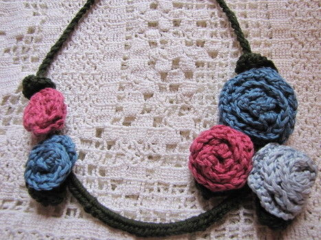 Repurposing brassiere wire and adding crochet to make a unique necklace .  Free tutorial with pictures on how to make a recycled necklace in under 30 minutes by jewelrymaking and crocheting with yarn and crochet hook. How To posted by Maya Kuzman. Difficulty: Easy. Cost: Cheap. Steps: 6