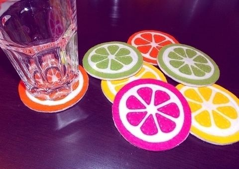 Put your glass down on grapefruits, oranges, lemons or limes! .  Free tutorial with pictures on how to sew a fabric coaster in 7 steps by constructing and sewing with scissors, felt, and glue. Inspired by christmas, orange, and lemon. How To posted by Anna H. Difficulty: Easy. Cost: Absolutley free.