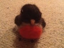 A needle felted robin that i was taught how to make!! :) .  Make a robin plushie in under 90 minutes by creating, needleworking, and felting with needle felting kit. Inspired by christmas. Creation posted by Hollie W. Difficulty: 3/5. Cost: Absolutley free.