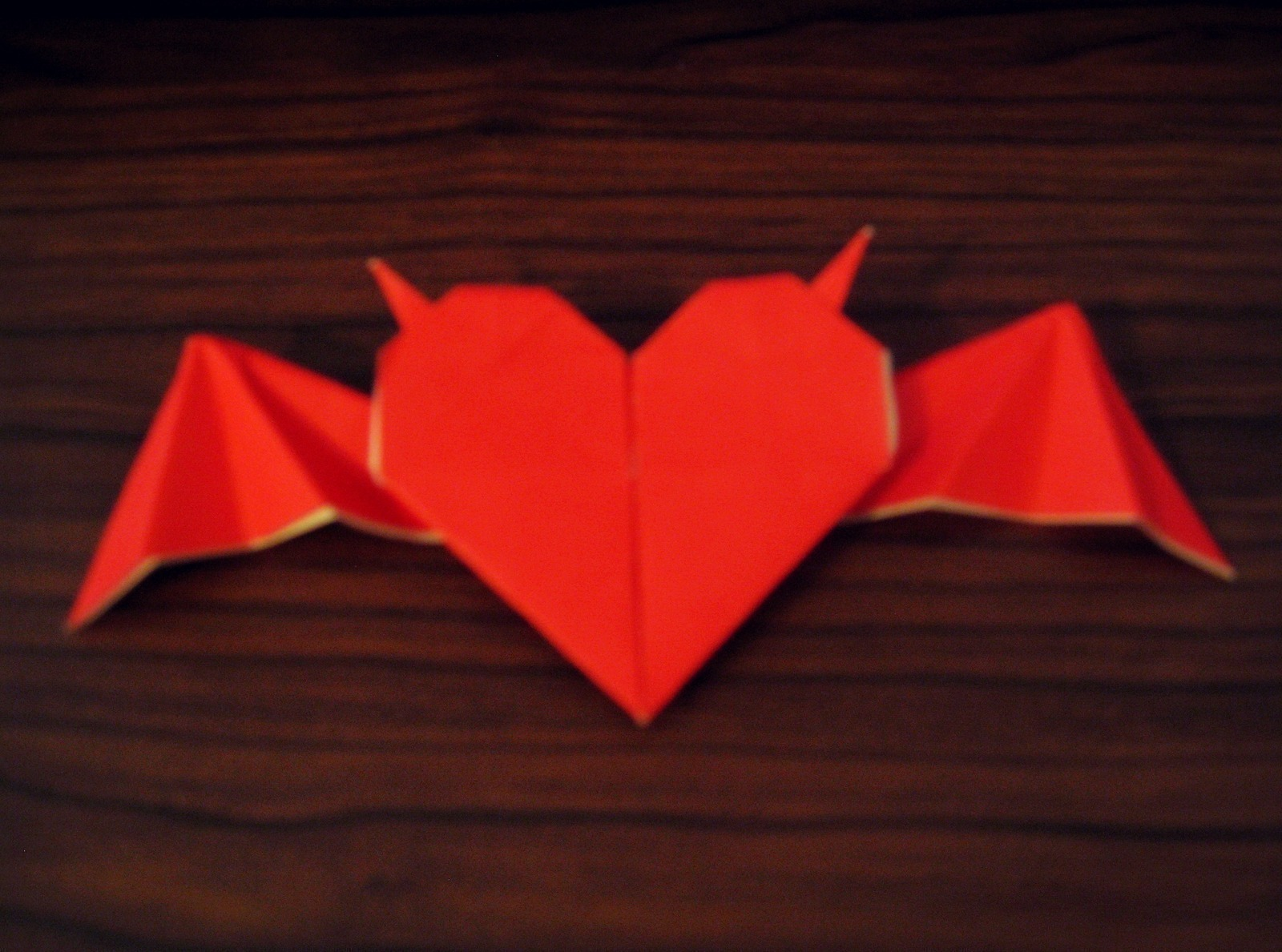 Origami Heart With Horns And Bat Wings · How To Fold An ... - photo#45
