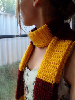 .  Knit Or Crochet a stripy scarf by crocheting Inspired by harry potter and costumes & cosplay. Version posted by Sparkles. Difficulty: Simple. Cost: Cheap.
