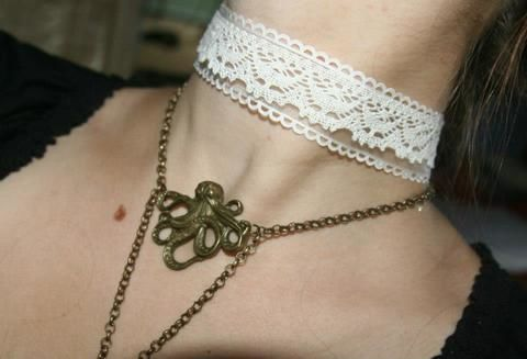 Lolita or wedding choker .  Make a lace choker in under 15 minutes using lace and organza. Inspired by weddings, lolita, and vintage & retro. Creation posted by Kapitánka Nemo. Difficulty: Simple. Cost: Cheap.