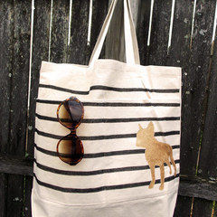 Diy Painted Reusable Bag With Stripes And Animal Silhouette