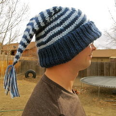 "Striped ""Sleeping Cap"" Winter Hat"
