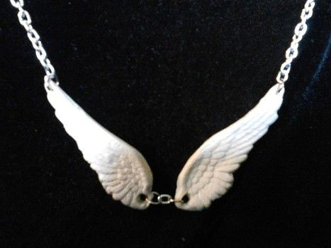 Two wings go with any outfit .  Make a wing pendant in under 30 minutes by creating, beading, applying makeup, jewelrymaking, chainmailing, metalworking, molding, potting, resinworking, and wireworking with polymer clay. Inspired by christmas, gothic, and steampunk. Creation posted by . Difficulty: 4/5. Cost: 4/5.