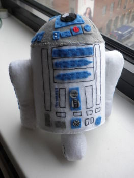 Beep beep ! .  Make a Star Wars plushie by sewing and felting with felt, stuffing, and needle and thread. Inspired by star wars, robots, and geeky. Creation posted by English Ginger. Difficulty: 4/5. Cost: No cost.