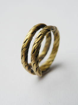 Braided brass ring .  Braid a braided ring in under 120 minutes by braiding, metalworking, and wireworking with brass wire. Inspired by clothes & accessories. Creation posted by alpha.omega. Difficulty: Simple. Cost: Cheap.