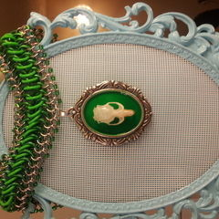 Chainmaille Choker With Mouse Skull Cameo