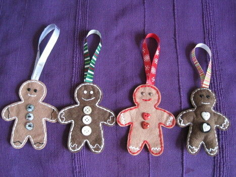 Hanging tree decorations .  Make a gingerbread man plushie in under 120 minutes by needleworking and sewing with felt, thread, and ribbon. Inspired by christmas and gingerbread. Creation posted by AgaD. Difficulty: Simple. Cost: Cheap.