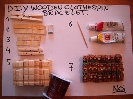 Make your own wooden bracelet with lovely colours! .  Free tutorial with pictures on how to make a recycled bracelet in under 60 minutes by creating, jewelrymaking, and woodworking with paint, drill, and elastic thread. Inspired by clothes & accessories. How To posted by Nikki G. Difficulty: Easy. Cost: Cheap. Steps: 7