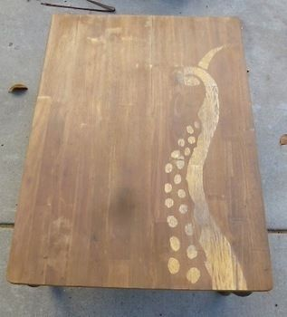 A stenciling play on negative space, with DIY wood stain to create a unique table! .  Free tutorial with pictures on how to make a painted table in under 60 minutes by stencilling and woodworking with nail, white vinegar, and steel wool. Inspired by squid and octopuses. How To posted by kage j. Difficulty: 3/5. Cost: Cheap. Steps: 7
