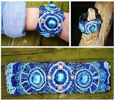 My first bead embroidery project .  Free tutorial with pictures on how to bead a loom beaded bracelet in 7 steps by beading, jewelrymaking, and embroidering with fabric, beads, and buttons. Inspired by clothes & accessories. How To posted by Nikki G. Difficulty: Easy. Cost: 3/5.