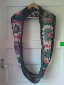 Thick and warm and full of granny chic .  Crochet a granny square scarf by crocheting and not sewing with crochet hook and chunky wool. Inspired by vintage & retro and clothes & accessories. Creation posted by Julie G. Difficulty: Simple. Cost: 4/5.