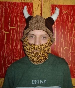 Crocheted bearded Viking hat .  Make a viking hat in under 90 minutes by sewing and crocheting with crochet yarn and crochet hook. Creation posted by Recycled Miracles. Difficulty: Easy. Cost: Absolutley free.