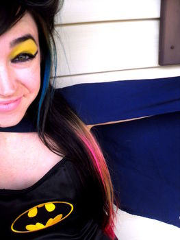Love Batman? Try this super simple makeup look inspired by him! :D .  Free tutorial with pictures on how to create a yellow eye makeup look in under 10 minutes by applying makeup and applying makeup with eyeshadow and liquid eyeliner. Inspired by batman. How To posted by Mypeacelovelife.com. Difficulty: Easy. Cost: Absolutley free. Steps: 1