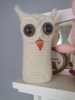 A snowy owl made on a snowy day  .  Make a bird plushie in under 180 minutes by crocheting and amigurumi with yarn needle and safety eyes. Inspired by kawaii, owls, and owls. Creation posted by Amanda M. Difficulty: Simple. Cost: Absolutley free.