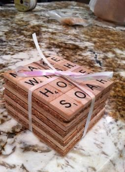 Made with love! .  Free tutorial with pictures on how to recycle a scrabble coaster in under 23 minutes by decorating, embellishing, and not sewing with scissors, hot glue gun, and decoupage glue. Inspired by crafts. How To posted by Yusra. Difficulty: Easy. Cost: Absolutley free. Steps: 3