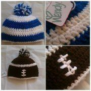 Football beanie  .  Make a stripy beanie in under 180 minutes by yarncrafting and crocheting with yarn and crochet hook. Inspired by football. Creation posted by wendy t. Difficulty: Simple. Cost: Absolutley free.