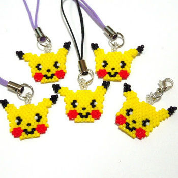 Pikachu - Gotta Catch 'Em All! .  Make a beaded charm by beading with seed beads and fishing line. Inspired by pokemon and kawaii. Creation posted by Bead Crumbs. Difficulty: 3/5. Cost: 3/5.