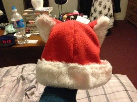 Get ready to rip open your presents! .  Make a novelty hat in under 45 minutes by sewing and sewing with fleece and fur fabric. Inspired by christmas, cats, and costumes & cosplay. Creation posted by whiteinu1. Difficulty: Simple. Cost: Cheap.