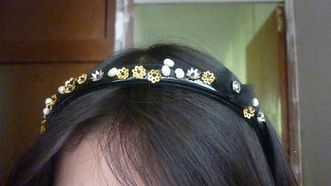In a much more wearable version  .  Free tutorial with pictures on how to make an embellished headband in under 90 minutes by creating, embellishing, and sewing with scissors, needle and thread, and needle and thread. Inspired by clothes & accessories and dolce & gabbana. How To posted by elisa m. Difficulty: Simple. Cost: Cheap. Steps: 11
