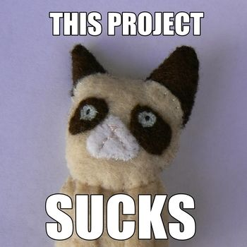 Show the world how grumpy you are. .  Free tutorial with pictures on how to sew a fabric animal brooch in under 120 minutes by needleworking and sewing with felt and brooch back. Inspired by grumpy cat. How To posted by Lauren. Difficulty: Simple. Cost: No cost. Steps: 11