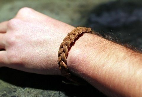 How to make a beautiful braided bracelet without any special tools .  Free tutorial with pictures on how to make a braided leather bracelet in under 120 minutes by braiding, jewelrymaking, and upholstering with craft knife, belt, and rope. Inspired by gifts, harry potter, and steampunk. How To posted by schpeglar. Difficulty: Simple. Cost: Absolutley free. Steps: 9