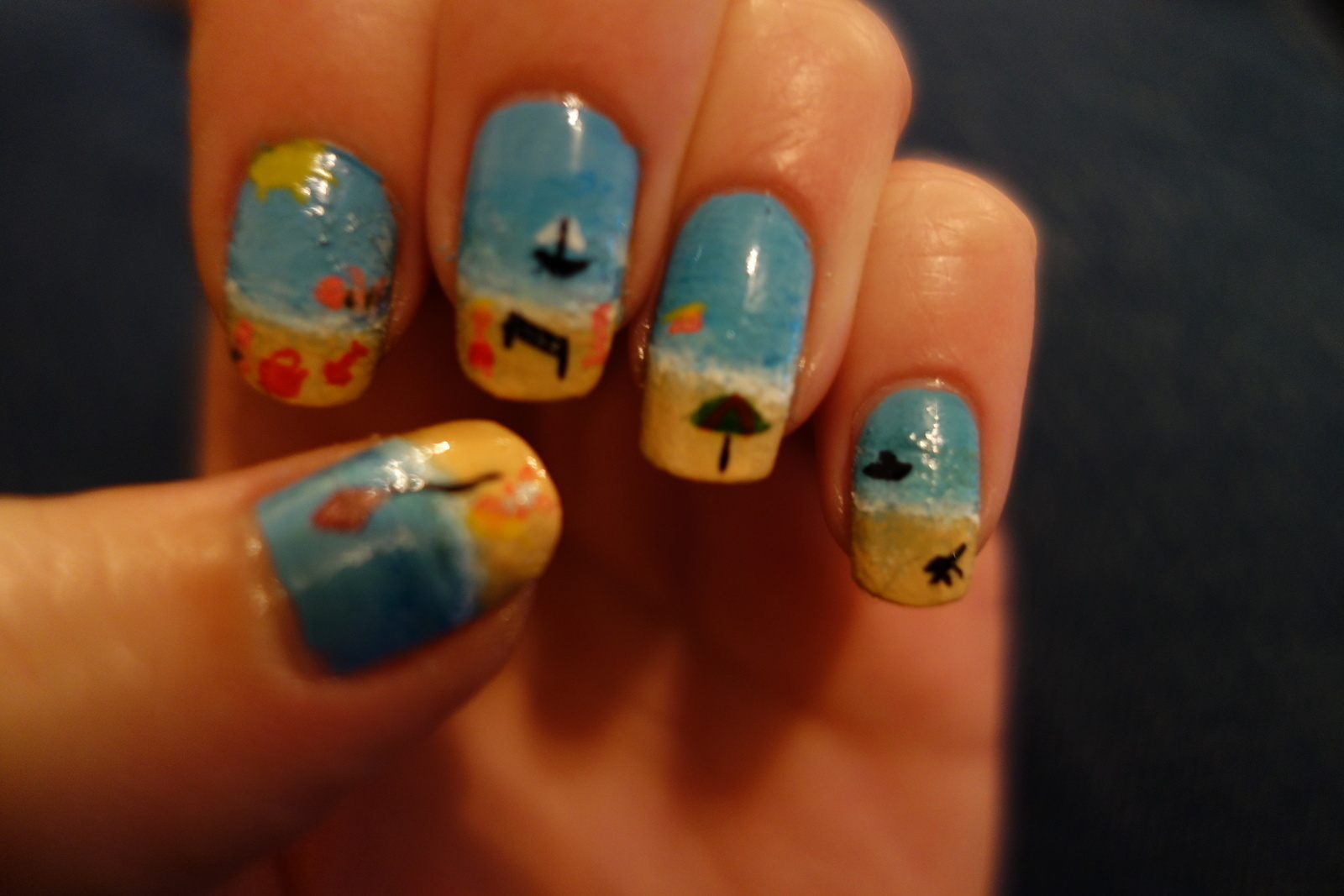 Seaside Beach Nails 183 A Beach Nail Manicure 183 Art Beauty And Nail Painting On Cut Out Keep