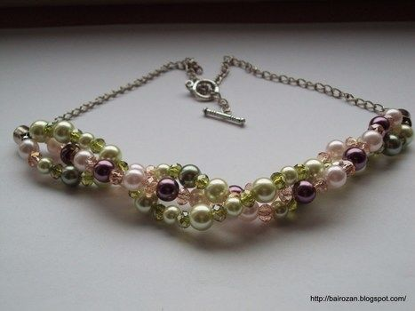 Braided and wire crochet necklaces with glass pearls and crystals .  Make a single-strand bead necklace by beading, jewelrymaking, and wireworking with jump rings, jewelry wire, and crimp beads. Inspired by clothes & accessories. Creation posted by Rozantia P. Difficulty: 3/5. Cost: 3/5.