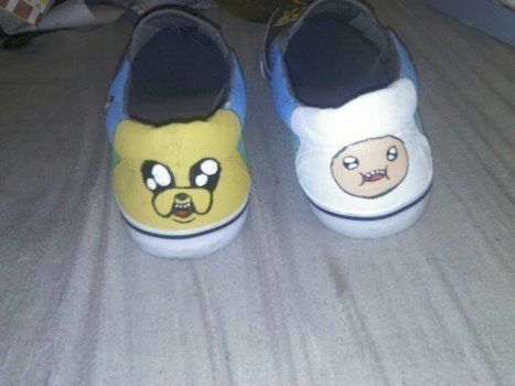 Adventure time, shoes, cartoon, paint, hand made, jake, finn,  .  Paint a pair of character shoes by creating, drawing, transfering, and not sewing with fabric paint, shoes, and fabric pen. Inspired by cartoons and adventure time. Creation posted by Nicol E. Difficulty: 3/5. Cost: 3/5.