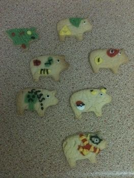 Can you guess what games there from? .  Decorate an animal cookie in under 120 minutes by baking and decorating food with imagination, cookie cutter, and icing pens. Inspired by computer games and minecraft. Creation posted by isobel.l. Difficulty: 3/5. Cost: No cost.