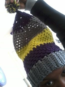 Keeps you extra warm! .  Make a stripy beanie in under 120 minutes by needleworking, yarncrafting, and crocheting with yarn and crochet hook. Inspired by clothes & accessories. Creation posted by ty.jo. Difficulty: Simple. Cost: Cheap.