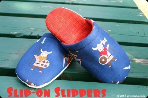 Make some sweet slippers to take lounging to a hip custom level .  Free tutorial with pictures on how to sew a pair of fabric slippers in under 60 minutes by sewing with fabric, fabric, and fleece. How To posted by Cheryl@Sew Can Do. Difficulty: Simple. Cost: Cheap. Steps: 9