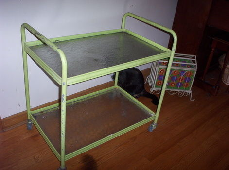 From trash to getting you trashed LOL  .  Make a bar cart by spraypainting, constructing, decorating, embellishing, printing, upholstering, and not sewing with scissors, paint, and hot glue gun. Creation posted by meg s. Difficulty: Simple. Cost: Cheap.
