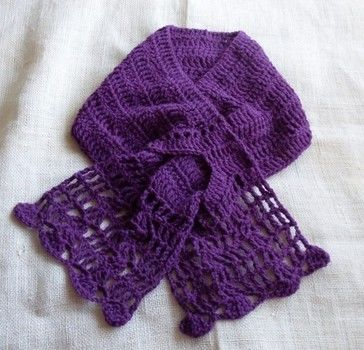 Purple love, pure and simple and trimmed with lace! .  Free tutorial with pictures on how to make a knit scarf / crochet scarf in 1 step by crocheting with scissors, needle, and crochet hook. How To posted by Clotilde/Craftybegonia M. Difficulty: 3/5. Cost: Cheap.