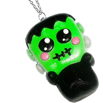 Kawaii Frankensteins Monster Necklace..so cute! .  Sculpt a clay character necklace in under 60 minutes by jewelrymaking with polymer clay, polymer clay, and eye pins. Inspired by crafts, gifts, and halloween. Creation posted by nat-drownsoda. Difficulty: 3/5. Cost: 3/5.
