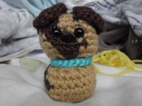 Cute puppy keyring .  Stitch a knit or crochet keyring in under 120 minutes by embroidering, sewing, crocheting, and amigurumi with ribbon, stuffing, and wool. Creation posted by Bethany. Difficulty: Easy. Cost: Absolutley free.