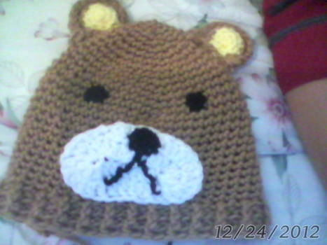 A simply made Rilakkuma hat. Everyone's favorite bear! .  Make an animal hat by crocheting with yarn, yarn, and crochet hook. Inspired by kawaii, bears, and clothes & accessories. Creation posted by Nerdy Llama. Difficulty: Simple. Cost: Cheap.