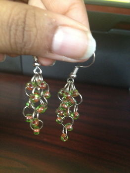 Sweet, simple, sophisticated. .  Make a pair of chainmaille earrings in under 30 minutes by beading, jewelrymaking, and chainmailing with beads and beading hoop. Inspired by clothes & accessories. Creation posted by craftiequeen2000. Difficulty: 3/5. Cost: 3/5.