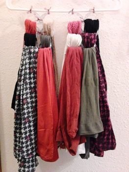 Tired of searching for a pair of tights in a messy drawer?  .  Make a storage unit in under 20 minutes using scissors, ribbon, and clothes hanger. Inspired by clothes & accessories. Creation posted by ErsatzEpiphany. Difficulty: Easy. Cost: Absolutley free.