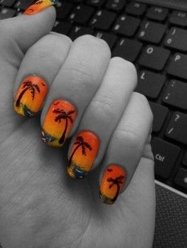How to create a beautiful sunset scene on your nails .  Free tutorial with pictures on how to paint a beach nail manicure in under 60 minutes by creating, applying makeup, nail painting, and printing with nail varnish, nail art pen, and cosmetic sponge. Inspired by summer holidays. How To posted by Jazmyn Annecia. Difficulty: Easy. Cost: No cost. Steps: 6
