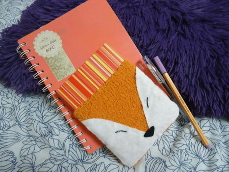 Turn your sock into your agenda/diary cozy! .  Free tutorial with pictures on how to make a felt book cover in under 15 minutes by sewing and felting with felt, felt, and embroidery thread. Inspired by kawaii and foxes. How To posted by judithchen. Difficulty: Easy. Cost: Absolutley free. Steps: 9