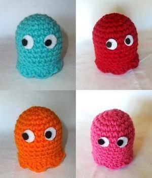 Inky, Blinky, Pinky and Clyde! .  Make a food plushie by crocheting and not sewing with felt, worsted weight yarn, and hot glue gun and glue sticks. Inspired by gifts, pac-man, and domo kun. Creation posted by Rachell S. Difficulty: Simple. Cost: Cheap.