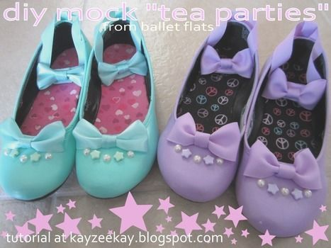 Cute shoes to match just about any lolita or fairy kei coord you could ever imagine! .  Free tutorial with pictures on how to embellish a pair of bow shoes in under 180 minutes by not sewing with ribbon, acrylic paint, and spray paint. Inspired by halloween, lolita, and gothic. How To posted by . Difficulty: Easy. Cost: 3/5. Steps: 1