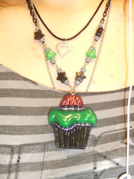 Lovely Zombie Resin Cupcake .  Make a resin pendant by beading, jewelrymaking, resinworking, and wireworking with beads, chain, and glitter. Inspired by halloween, zombies, and gothic. Creation posted by Lily T. Difficulty: 3/5. Cost: No cost.